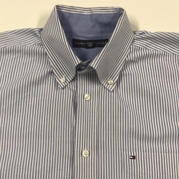 Tommy Hilfiger Other - TOMMY HILFIGER Blue White Oxford Dress Shirt LARGE